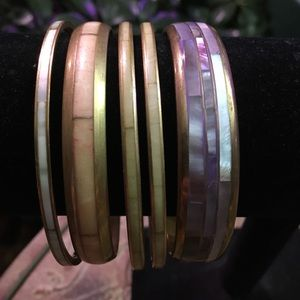 Vintage Brass Inlay Bangle Bracelets